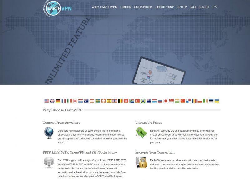 earthvpn.com Screenshot