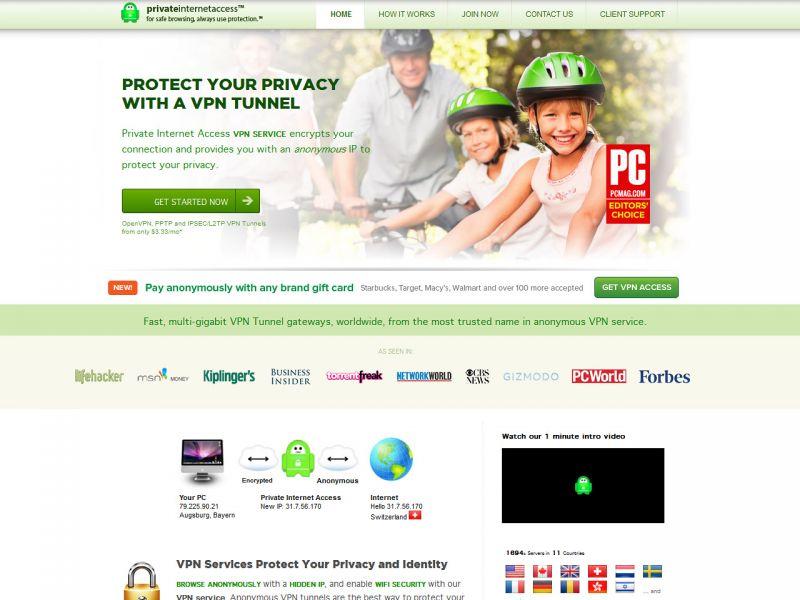privateinternetaccess.com Screenshot