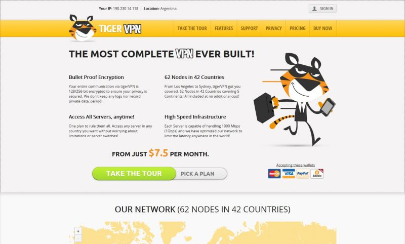 tigervpn.com Screenshot