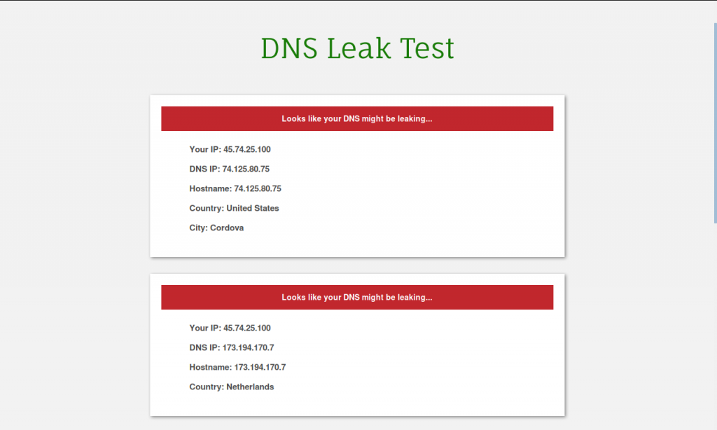 PureVPN DNS leak test