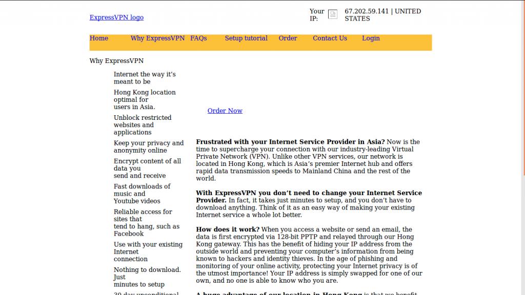 ancien site ExpressVPN (2011)