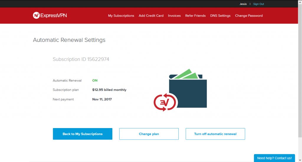 cancelling the recurring subscription on ExpressVPN